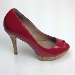 Cole Haan Nike Air Red Patent Heels Peep Toe Sexy